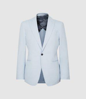 Reiss Orient - Cotton Linen Blend Slim Fit Blazer in Light Blue, Mens, Size 36