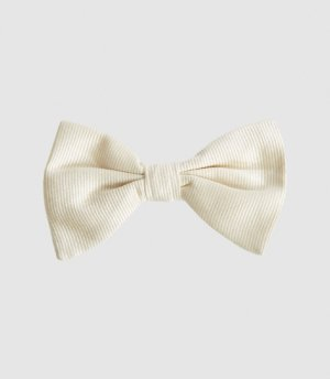 Reiss Otto - Silk Bow Tie in Ivory, Mens