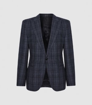 Reiss Oxsted - Wool Slim Fit Checked Blazer in Navy, Mens, Size 36