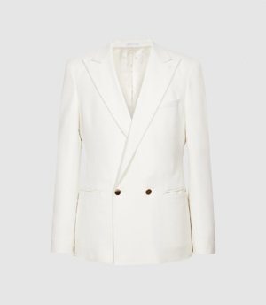 Reiss Palace - Twill Double Breasted Blazer in Ecru, Mens, Size 36