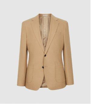 Reiss Piazetta - Brushed Wool Single Breasted Blazer in Camel, Mens, Size 36