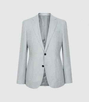 Reiss Piazetta - Brushed Wool Single Breasted Blazer in Grey, Mens, Size 36