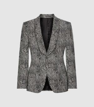 Reiss Python - Snake Patterned Shawl Collar Blazer in Grey, Mens, Size 36