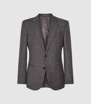 Reiss Ravenna - Checked Slim Fit Blazer in Grey, Mens, Size 36