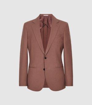 Reiss Refine - Wool Modern Fit Blazer in Burnt Umber, Mens, Size 36