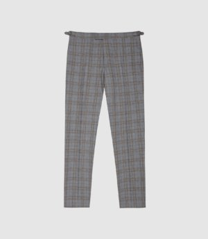 Reiss Ringmer - Checked Slim Fit Trousers in Grey, Mens, Size 28