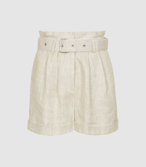 Reiss Romy - Textured Linen Shorts in Neutral, Womens, Size 4