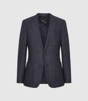 Reiss Seek - Slim Fit Basket Texture Blazer in Navy, Mens, Size 36