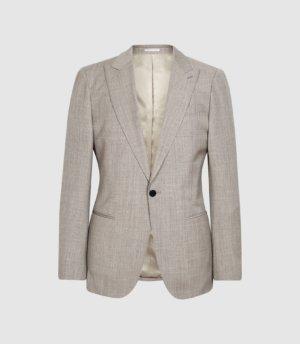 Reiss Skip - Textured Slim Fit Blazer in Oatmeal, Mens, Size 36