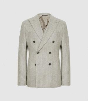 Reiss Slice - Pinstripe Double Breasted Blazer in Oatmeal, Mens, Size 36