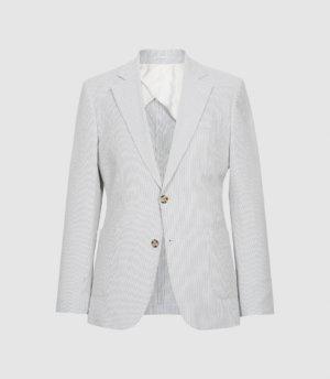 Reiss Splash - Seersucker Tailored Blazer in Blue, Mens, Size 36