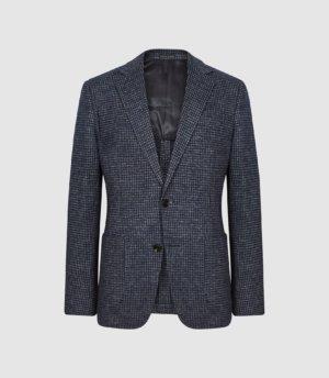 Reiss Stelvio - Puppytooth Check Slim Fit Blazer in Indigo, Mens, Size 36