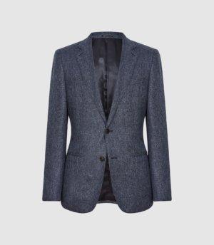 Reiss Text - Wool Blend Slim Fit Blazer in Airforce Blue, Mens, Size 36