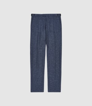 Reiss Text - Wool Blend Slim Fit Trousers in Airforce Blue, Mens, Size 28