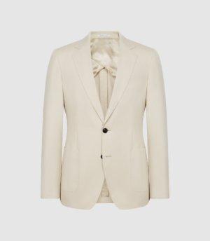 Reiss Train - Cotton Linen Blend Slim Fit Blazer in Stone, Mens, Size 36