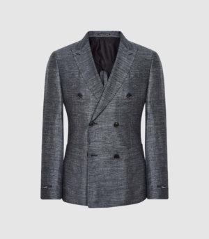 Reiss Transit - Linen Double Breasted Blazer in Indigo, Mens, Size 36