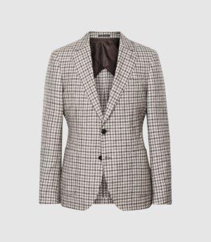 Reiss Trip - Wool Gingham Slim Fit Blazer in Brown, Mens, Size 36