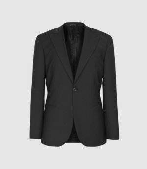 Reiss Trust - Slim Fit Travel Blazer in Black, Mens, Size 34S