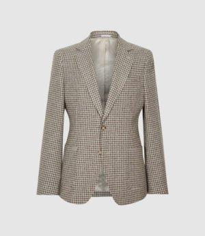 Reiss Vale - Wool Blend Slim Fit Blazer in Brown, Mens, Size 36