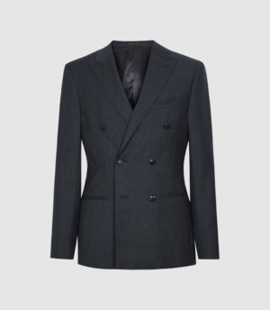 Reiss Villa - Wool Double Breasted Blazer in Navy, Mens, Size 36
