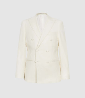 Reiss Villa - Wool Double Breasted Blazer in White, Mens, Size 36