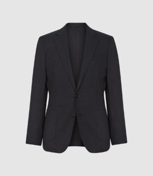 Reiss Wash - Washable Slim Fit Blazer in Charcoal, Mens, Size 36