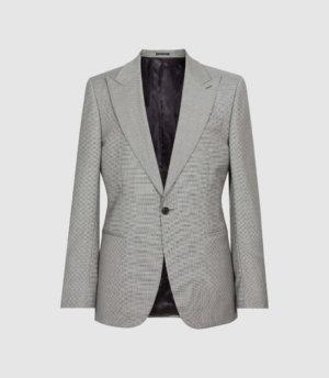 Reiss Wave - Wool Puppytooth Check Blazer in Soft Grey, Mens, Size 36