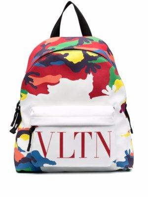 Valentino Garavani Camou7 print logo backpack - White