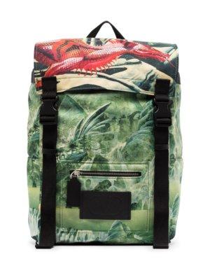 Valentino Garavani Red Dragon print backpack - Green