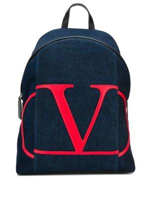Valentino Garavani VLOGO denim backpack - Blue
