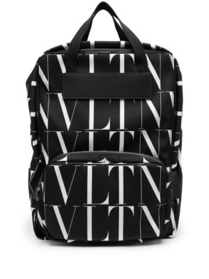 Valentino Garavani all-over logo print backpack - Black