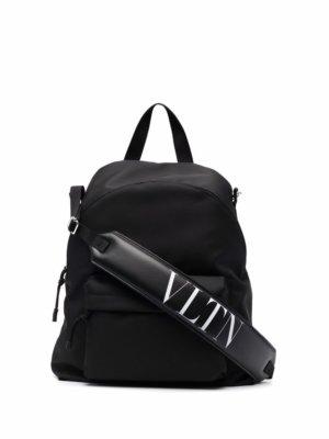 Valentino Garavani logo-strap backpack - Black