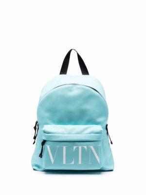 Valentino Garavani logo-tape detail backpack - Blue